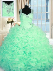 High Class Sleeveless Beading and Ruffles Zipper Sweet 16 Dresses