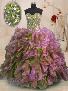 Best Ball Gowns 15th Birthday Dress Multi-color Sweetheart Organza Sleeveless Floor Length Side Zipper