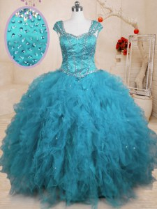 Baby Blue Cap Sleeves Floor Length Beading and Ruffles Lace Up Sweet 16 Quinceanera Dress
