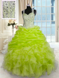 Yellow Green Sleeveless Floor Length Beading and Ruffles and Pick Ups Zipper Vestidos de Quinceanera