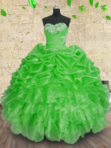 Green Organza Lace Up Sweetheart Sleeveless Floor Length Quinceanera Gowns Beading and Appliques and Ruffles and Ruching