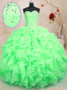 High Class Sleeveless Beading and Ruffles Lace Up Quinceanera Gown