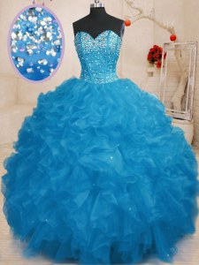 Blue Sleeveless Beading and Ruffles Floor Length 15th Birthday Dress