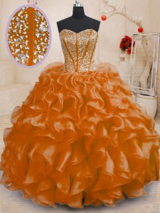 Admirable Orange Lace Up Sweetheart Beading and Ruffles Quinceanera Gown Organza Sleeveless