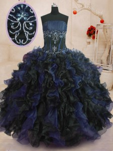 Best Floor Length Blue And Black Quinceanera Gowns Strapless Sleeveless Lace Up