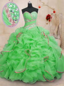 Fabulous Sleeveless Brush Train Lace Up With Train Beading and Ruffles Ball Gown Prom Dress