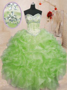 High Quality Sleeveless Beading and Ruffles Lace Up 15 Quinceanera Dress