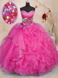 Unique Hot Pink Lace Up 15 Quinceanera Dress Beading and Ruffles Sleeveless Floor Length