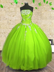 Best Selling Sleeveless Tulle Floor Length Zipper Quince Ball Gowns in with Appliques and Ruching