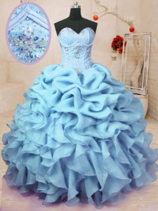 Baby Blue Lace Up Sweet 16 Dresses Beading and Ruffles and Pick Ups Sleeveless Floor Length