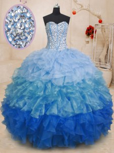 Beauteous Organza Sweetheart Sleeveless Lace Up Beading and Ruffles Sweet 16 Dresses in Multi-color