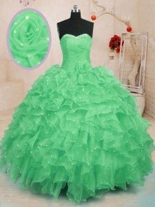 Green Sweetheart Neckline Beading and Ruffles and Hand Made Flower Quince Ball Gowns Sleeveless Lace Up