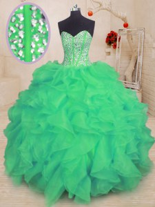 Turquoise Lace Up Sweetheart Beading and Ruffles Quince Ball Gowns Organza Sleeveless