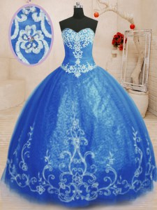 Elegant Blue Sleeveless Floor Length Beading and Appliques Lace Up Quinceanera Dress