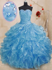 Sweetheart Sleeveless Lace Up Sweet 16 Dresses Blue Organza