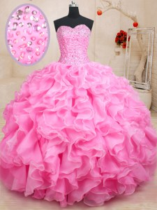 Modest Sweetheart Sleeveless Vestidos de Quinceanera Floor Length Beading and Ruffles Rose Pink Organza