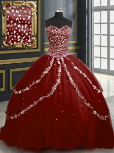 Dazzling Sleeveless Brush Train Beading and Appliques Lace Up 15 Quinceanera Dress