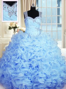 Beautiful Floor Length Zipper 15 Quinceanera Dress Baby Blue for Military Ball and Sweet 16 and Quinceanera with Beading and Ruffles