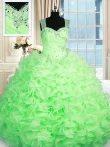 Inexpensive Zipper Straps Beading and Ruffles Quinceanera Gown Organza Sleeveless