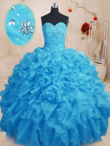 Dramatic Baby Blue Sweetheart Neckline Beading and Ruffles Vestidos de Quinceanera Sleeveless Lace Up