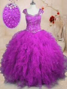 Cheap Cap Sleeves Floor Length Beading and Ruffles Lace Up Sweet 16 Quinceanera Dress with Purple