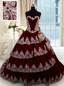 Wine Red Sweetheart Neckline Beading and Appliques and Ruffled Layers 15th Birthday Dress Sleeveless Lace Up
