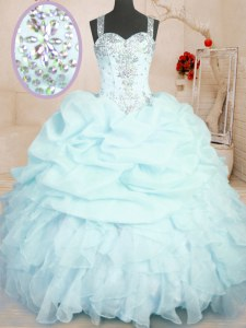 Floor Length Light Blue Ball Gown Prom Dress Organza Sleeveless Beading and Ruffles and Pick Ups