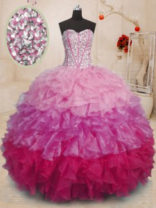 Multi-color Organza Lace Up Sweetheart Sleeveless Floor Length Quinceanera Gowns Beading and Ruffles