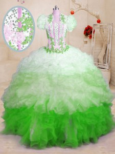 Multi-color Sleeveless Organza Brush Train Lace Up Quinceanera Dress for Military Ball and Sweet 16 and Quinceanera