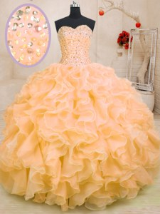 Sleeveless Beading and Ruffles Lace Up Sweet 16 Dresses