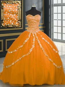 Custom Made Orange Lace Up Sweet 16 Quinceanera Dress Beading and Appliques Sleeveless With Brush Train