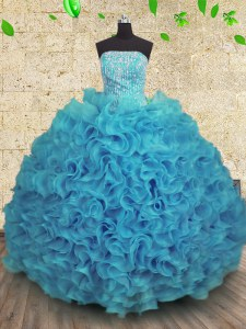 Spectacular Aqua Blue Lace Up Strapless Beading and Ruffles Quinceanera Dress Organza Sleeveless