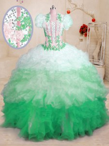 Eye-catching Beading and Appliques and Ruffles 15 Quinceanera Dress Multi-color Lace Up Sleeveless With Brush Train