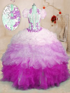 New Style With Train Multi-color 15 Quinceanera Dress Organza Brush Train Sleeveless Beading and Appliques and Ruffles