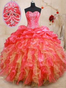 Organza Sweetheart Sleeveless Lace Up Beading and Ruffles Sweet 16 Dresses in Red