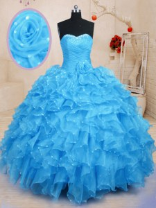 Floor Length Lace Up Quinceanera Dress Baby Blue for Military Ball and Sweet 16 and Quinceanera with Beading and Ruffles and Hand Made Flower