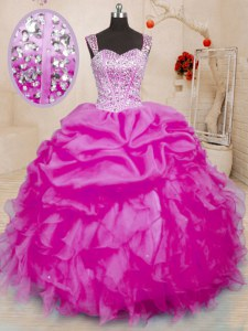 Fuchsia Organza Lace Up Quince Ball Gowns Sleeveless Floor Length Beading and Ruffles and Pick Ups