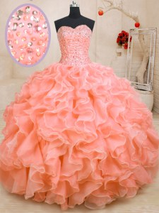 Customized Pink Lace Up Sweetheart Beading and Ruffles 15 Quinceanera Dress Organza Sleeveless