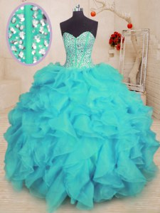 Fashionable Organza Sweetheart Sleeveless Lace Up Beading and Ruffles 15th Birthday Dress in Aqua Blue