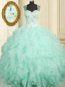 Straps Sleeveless Organza Quince Ball Gowns Beading and Ruffles Zipper