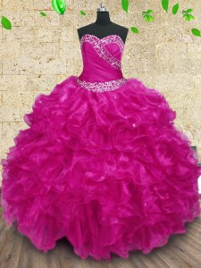 Fuchsia Sweet 16 Dress Military Ball and Sweet 16 and Quinceanera and For with Beading and Ruffles and Ruching Sweetheart Sleeveless Lace Up