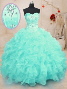Latest Organza Sweetheart Sleeveless Lace Up Beading and Ruffles Quinceanera Dresses in Turquoise