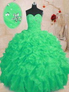 Fantastic Green Ball Gowns Beading and Ruffles 15th Birthday Dress Lace Up Organza Sleeveless Floor Length