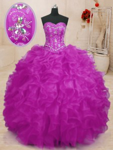 Sweet Beading and Ruffles 15th Birthday Dress Fuchsia Lace Up Sleeveless Floor Length