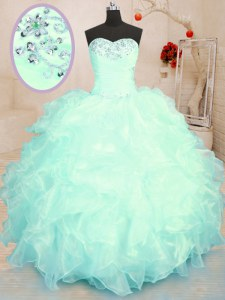 Floor Length Ball Gowns Sleeveless Turquoise and Apple Green Quinceanera Dress Lace Up