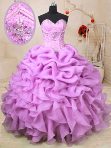 Fancy Organza Sleeveless Floor Length Quinceanera Dresses and Beading and Ruffles and Pick Ups