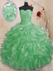 Green Ball Gowns Beading and Ruffles Quinceanera Gown Lace Up Organza Sleeveless Floor Length
