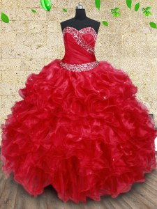 Red Ball Gowns Beading and Ruffles Sweet 16 Quinceanera Dress Lace Up Organza Sleeveless Floor Length