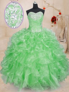 Stunning Floor Length Vestidos de Quinceanera Sweetheart Sleeveless Lace Up