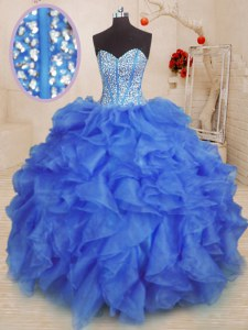 Sweetheart Sleeveless 15 Quinceanera Dress Floor Length Beading and Ruffles Royal Blue Organza